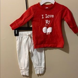 Girls 6 month I love my bug Red top & white pants